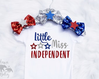 Baby Girl's 4th Of July Onesie, Fourth Of July Onesie, Little Miss Independent Onesie, 4th Of July Outfit, Toddler 4th Of July Shirt