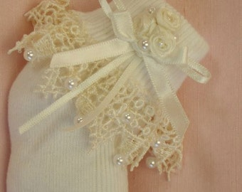 Baby Christening Socks - Antique Style Ivory Lace - Pearl Trim - 'Amelie'