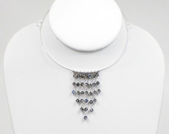 Silver memory wire collar necklace with Swarovski crystals