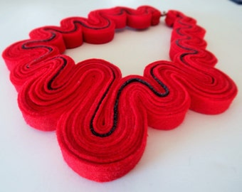 Statement Necklace Felt Necklace Felted Jewelry Recycled Eco Friendly Felt Bib Necklace In Red