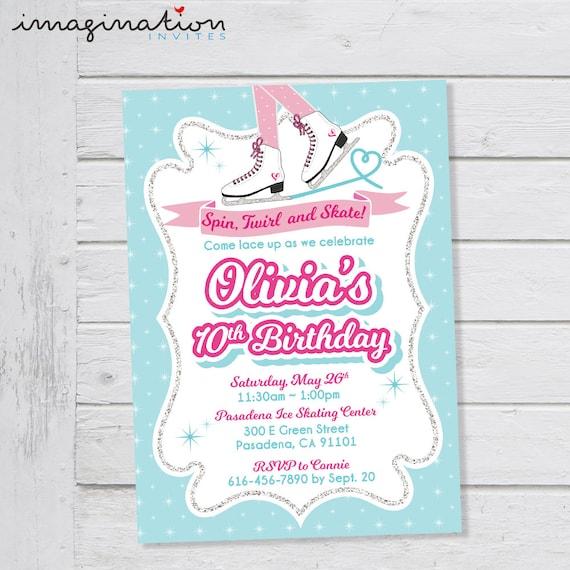 Ice Skating Invitation Ice Skating Birthday Party Glitter Ice
