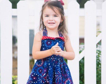 4th of July Top, Little Girl Tunic, Patriotic Top, Fireworks Top, Tunic, Halter Top, Toddler Clothes, Little Girl Top, Baby Girl Top