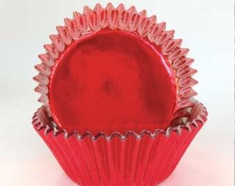 Red Foil Cupcake Liners (45), Christmas Cupcake Liners, Red Baking Cups, Christmas Baking Supplies, Holiday Baking Cups, Elegant Cupcakes