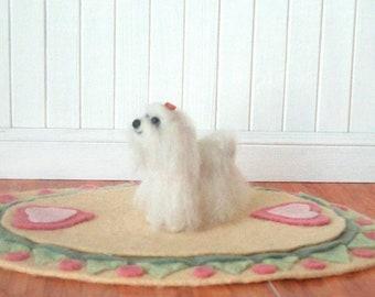 Maltese Miniature Needle Felted Dog -- ready to ship