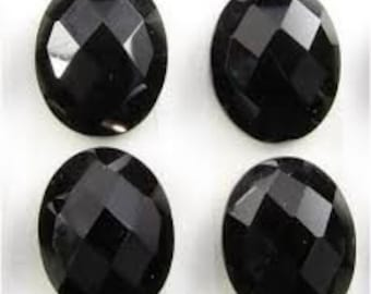 10 pieces natural black onyx rose cut oval cabochon