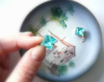 Blue earrings Aquamarine earrings Blue topaz dangles March birthstone December birthstone Vintage blue glass Square dangles Gold fill drops