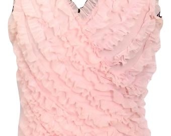 Vintage See Through Ruffles Pink Top