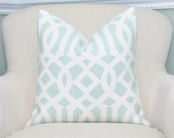 Schumacher Imperial Trellis II Pillow Cover -- Mineral / Ivory -- Zipper Closure