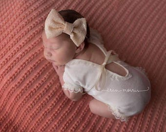 Newborn photo prop, newborn photography prop, photo prop, ivory romper, ivory newborn romper, baby romper, baby photo prop, lace baby romper