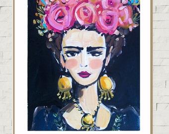 Frida Portrait PRINT, large frida, frida art