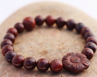 Poppy Jasper Wrist Mala with Carved Flower - 21 Bead Jasper Mala Bracelet