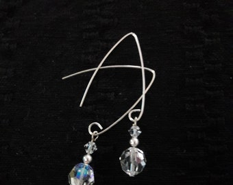 Clear Crsytal Sliver Dangle Earrings