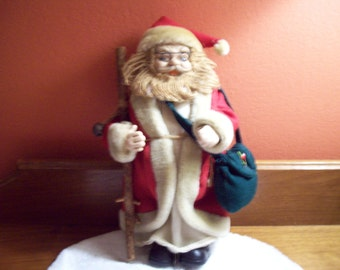 Beautiful Vintage Traveling Santa Claus w/ Walking Stick and Travel Bag