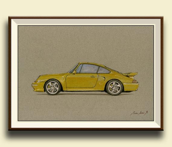 PRINT Porsche 911 993 Turbo S Yellow Porsche Classic Print