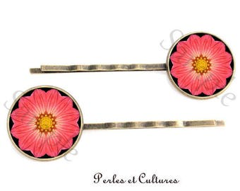 Hair clips x 2 original vintage glass cabochon Black Yellow pink flower Mandala beads