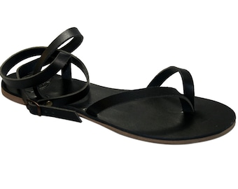 Black Swell Leather Sandals for Women & Men - Handmade Leather Sandals, Casual Leather Flats, Unisex Sandals, Genuine Leather Sandals