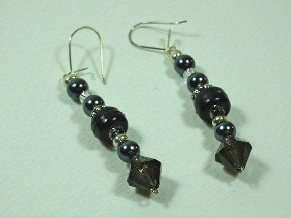 SJC10255 - Silver-color metal /black beaded earrings