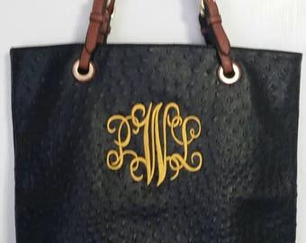Monogrammed black faux ostrich tote/purse/handbag