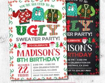 Ugly Sweater Invitation, Holiday Party Invitation, Christmas Party, Christmas Birthday Invitation, Unisex Birthday Invitation, DIGITAL