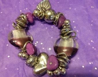 Venetian Art Glass Bead Bracelet Purple