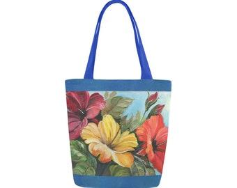 Fine Art Tote Bag, Floral Tote, Canvas Bag, Flower Bag, Book Bag, Gift for Her, Mothers Day Gift, Bridal  Shower Gift, Purse