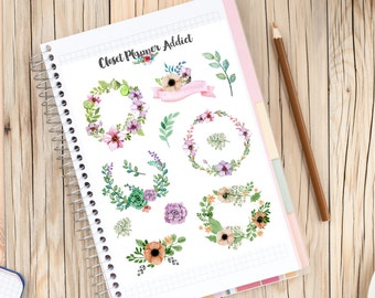 Watercolour Floral Garland Planner Stickers (S-046)