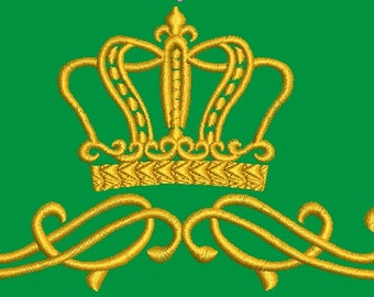 crown and floral pattern Machine Embroidery Design