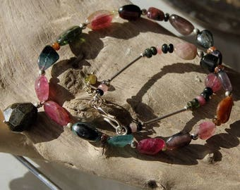 Multicolored Tourmaline and 925 sterling silver necklace