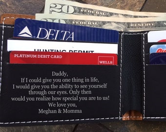 1st Fathers Day Gift from Wife, Gift from Daughter, from Kids, Fathers Day Gift from Son, Grandpa, Personalized Wallet for Men LEATHERETTE