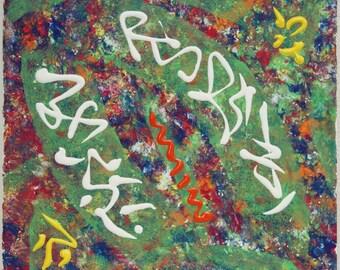 "Hieroglyphs (2017) 10""x10"" Acrylic Painting"