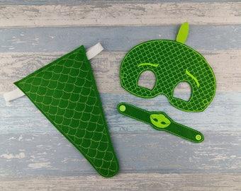 Gecko Mask - Lizard Tail and Snap Bracelet - Super Hero - Lizard Party - Green Lizard Costume - Halloween Mask - Birthday Gift & Gecko costume mask | Etsy