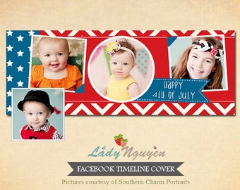 INSTANT DOWNLOAD Facebook timeline - 4th of July Template for photographers - F025