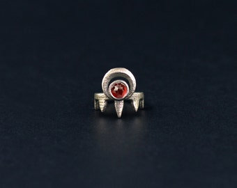 Worshipper midi ring in Old Steel - A midi ring with talons and the crescent Moon, accented with a Red Garnet gemstone.