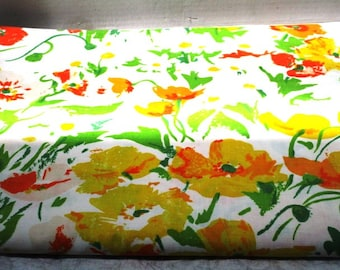 2 Vintage Flat Sheets Full Size Cotton Blend No Iron Percale Floral Poppy Daffodil, Yellow Gold Green, Shabby Cottage Chic Upcycle Supply
