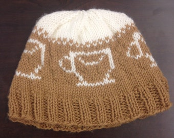 Caffeine Addict's (Coffee) Knit Hat // Coffee, Tea, Cafe patterned knit hat