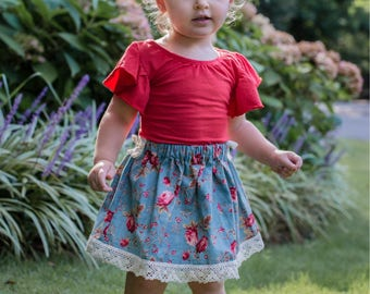 Girls Blue Vintage Style Floral Skirt, Boho Skirt, Burlap Bow, Baby Clothing, Girls Clothes, Girls Clothing