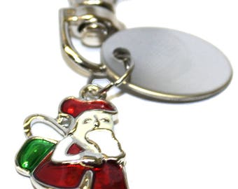 Engraved personalised happy red Santa Christmas Claus charm keyring pouch LT24