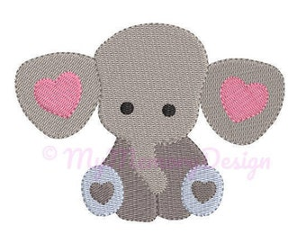 Baby Elephant Embroidery Design - Mini Embroidery Pattern - Machine embroidery digital dowload file - INSTANT DOWNLOAD 4 SIZES