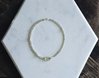 """1980's Silver Plated Sailor Knot Diamond Box Link Chain Dead Stock 16"""""""