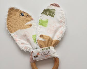 custom teether wooden ring ~ woodland whimsy ~ teething toy ~ teething ring ~ bunny ear teether ~ teethers from lillybelle designs