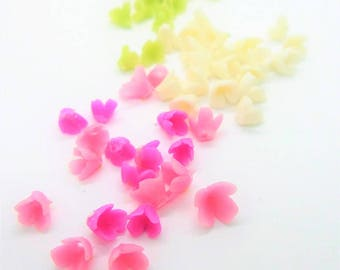 Miniature Polymer Clay Flowers Supplies for Dollhouse, set of 60 pieces, assorted