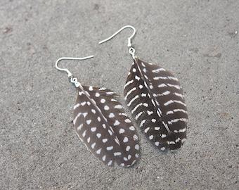 Guinea Hen Wing Quill Feather Earrings