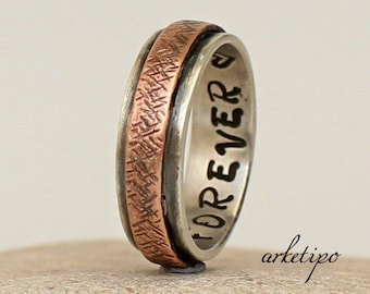 Personalized sterling silver and copper Ring.. Men's / Women's Wedding Band.. Handmade.. Custom Ring..