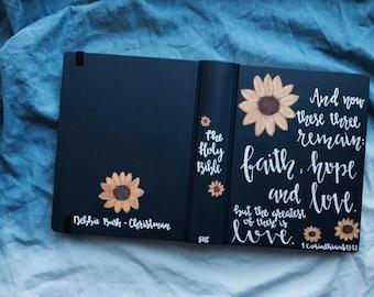 Custom Hand Painted Journaling Bible | Sunflower