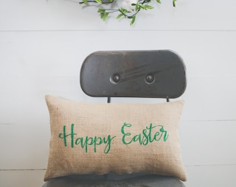 Happy Easter Pillow, Decorative Pillow Decor Pillow Easter Pillow Spring Pillow burlap pillow 15x10 accent pillow, farmhouse style