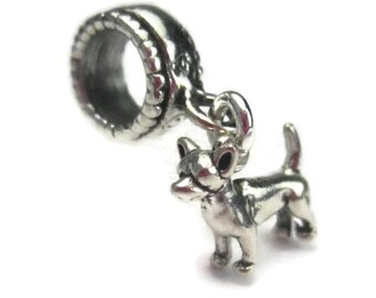 Chihuahua Charm in Sterling Silver for European Bracelets, Pet Dog Dangle Bead