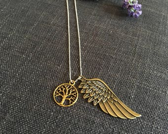 """Brass Angel Wing & Tree of Life Pendants on a Sterling Silver 30"""" Ball Chain Necklace"""