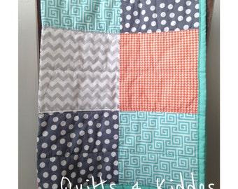 Baby Boy Quilt, Toddler Boy Quilt, Modern Handmade Quilt, Crib Quilt , Block Quilt, Orange, Turquoise, Grey, MADE TO ORDER