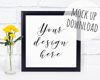 Black Square Frame Mockup, Square Frame Mock Up Photography, Black Frame Styled with Yellow Flowers, Frame Stock Photo Download