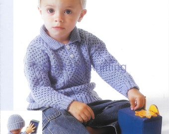boys sweater and hat dk knitting pattern 99p pdf